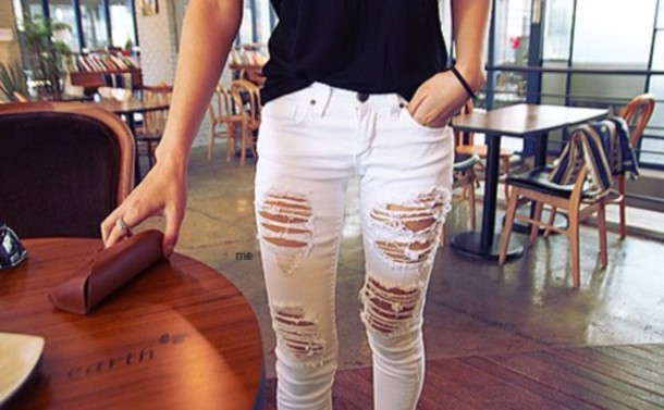Buy Fashion Clothing - Sexy Casual Black or White Destryed Ripped ...