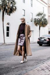skirt,tumblr,mini skirt,burgundy,leather skirt,sweater,knit,knitwear,knitted sweater,coat,camel,camel coat,loafers