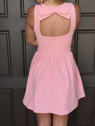 dress bow bowknot backless pink cute dress summer dress top bottoms skirt clothes beautiful fashion girly outfit sammydress