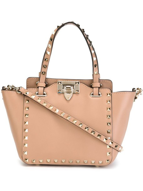 Valentino metal women leather nude bag