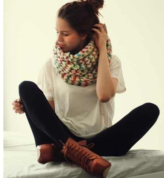 shirt knitted scarf white shirt black leggings hipster indie brown combat boots soft grunge scarf