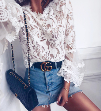 top lace top white lace top see through see through top belt skirt mini skirt denim denim skirt