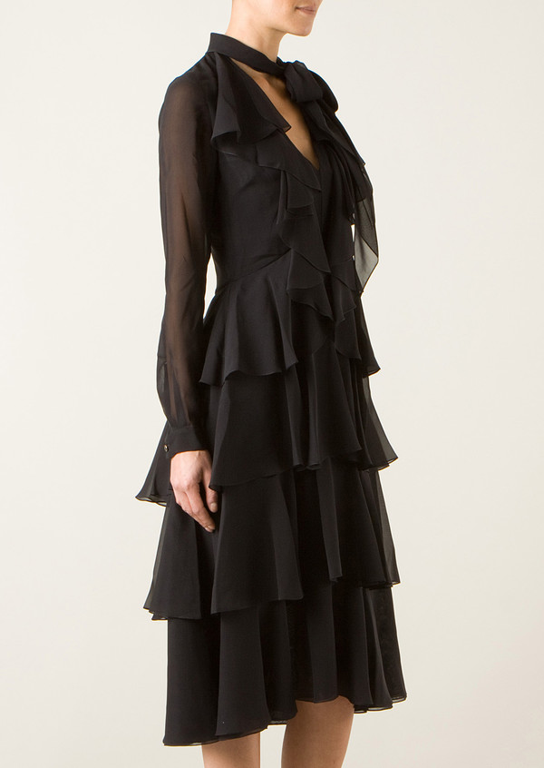 dress jason wu black silk tiered dress