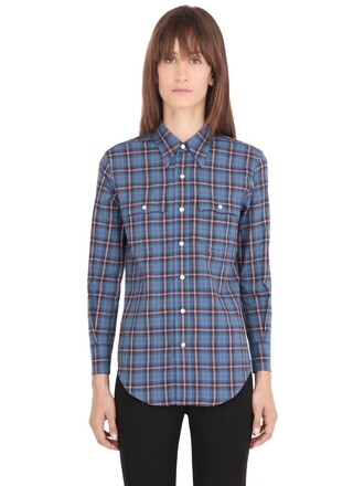 shirt plaid cotton blue beige top