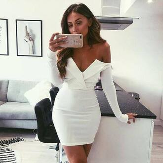 dress foldover dress missguided white dress wrap dress off the shoulder off the shoulder dress bardot dress bardot summer dress event dress formal dress