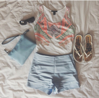 shorts blue summer pockets high waisted