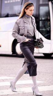 jacket,denim jacket,pernille teisbaek,pumps,skirt,midi skirt,blogger,shoes