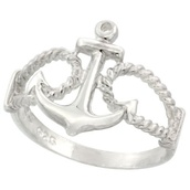 jewels,anchor,ring,silver,cute,Accessory