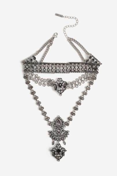 Topshop necklace choker necklace black jewels