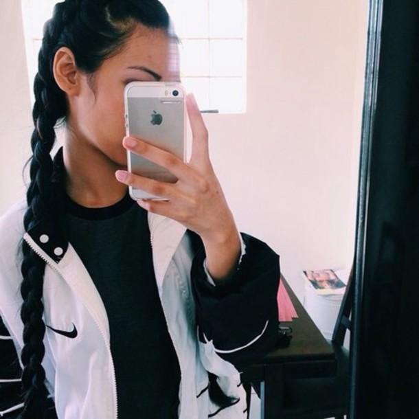 jacket white nike white nike