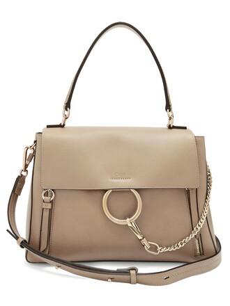 bag shoulder bag leather light grey