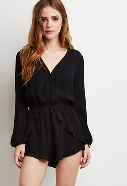 Romper: kimono, jumpsuit, black, summer, clothes, style, dress ...