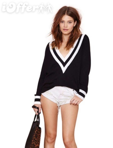 Deep V sweater women ha665 with white stripes ha221 for sale