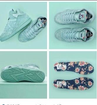shoes fila pastel sneakers pastel pastel green high top sneakers dope