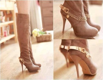 shoes boots high heels brown tan gold love heart