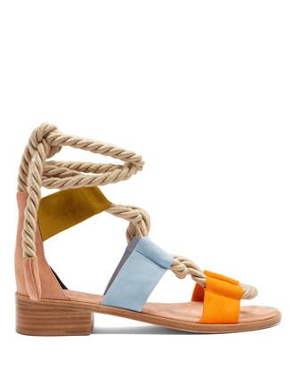 sandals flat sandals suede tan shoes