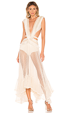 PatBo Fringe and Mesh Cutout Maxi Dress in Wheat from Revolve.com