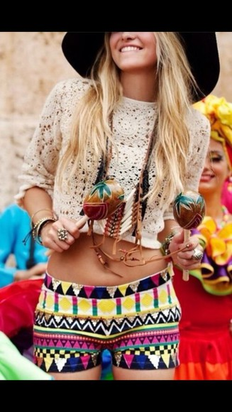 yellow multicolor green aztec pattern shorts