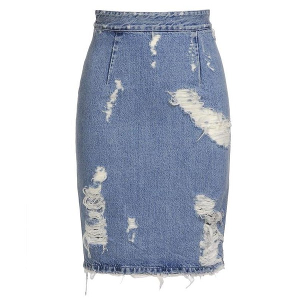 ACNE 'Fine trash' distressed denim skirt - Acne Studios - Polyvore