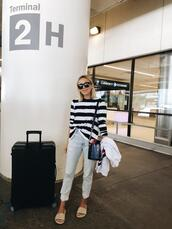 damsel in dior,blogger,t-shirt,jeans,sunglasses,bag,striped top,slide shoes
