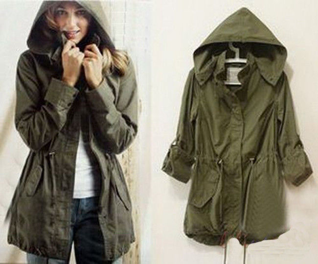 New Woman Lady Girl Army Green Hoodie Drawstring Military Oversized Jacket Coat | eBay