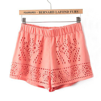 lace shorts peach color beach hollow out