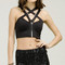 Strappy detailed neck crop top - black