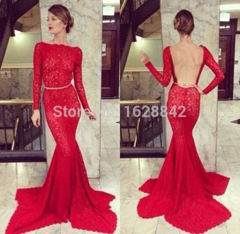 Free shipping 2015 red lace mermaid evening dress long sleeves evening dresses backless evening gowns vestidos de noche largos