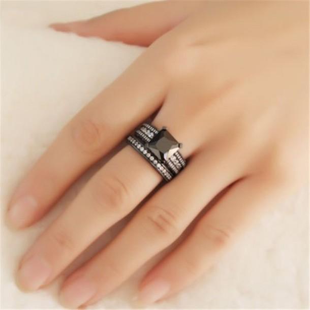 Ordinaire Jewels Amazing Ring Set Evolees.com Princess Cut Black Diamond Bridal Ring  Set BEAUTIFUL 2.1