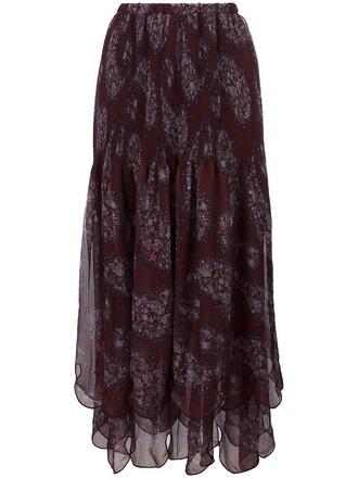 skirt maxi skirt maxi women scalloped cotton red
