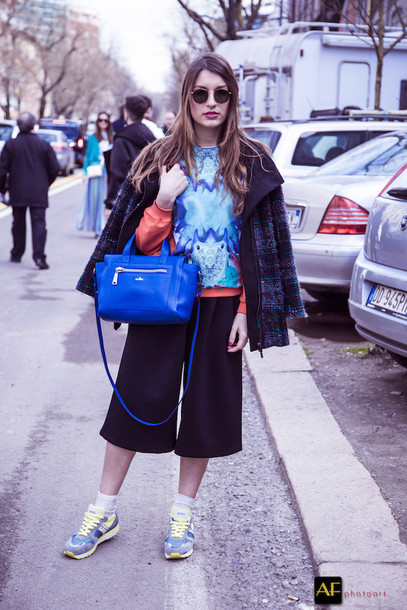 style and trouble blogger coat culottes blue sweater blue bag bag shoes socks sweater sunglasses