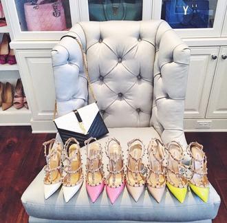 shoes white high heels pink high heels neon yellow heels high heels spiked heels pointed toe pumps