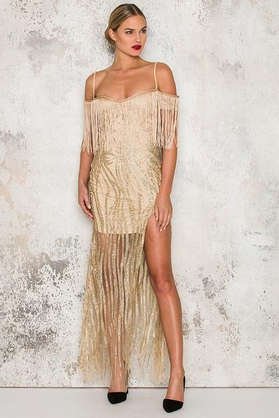 gold glitter fringed gown