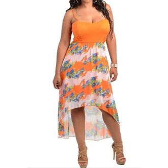dress plus size maxi dress floral orange white green blue high low sweetheart neckline spaghetti strap sexy high low dress spahgetti straps high low skirt