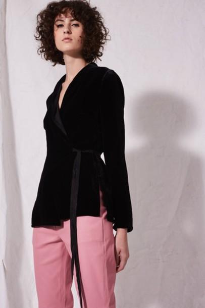Topshop blazer black velvet jacket