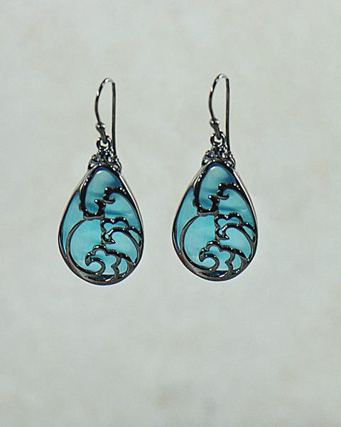Wildflower Pear Chalcedony Earrings in Black Rhodium