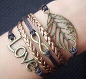 jewels,leaft,infinity,love,bracelets,leather,leather bracelet,vintage,retro,handmade,girl,women,bracelet、】,leaves,gold,skullbronze colour
