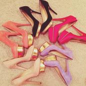 shoes,undefined,high heels,platform high heels,gold platforms,pink platform,pink heel,beige high heels