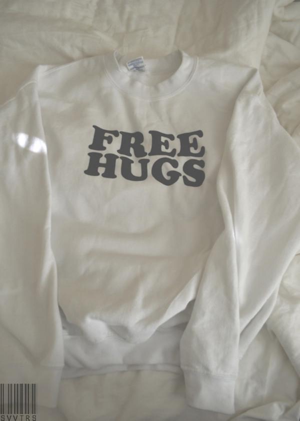 jacket free hugs coat white girl tumblr girl t-shirt