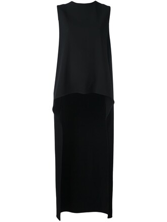tunic high high low black top