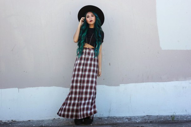 the river wolf blogger long skirt flannel grunge black crop top pastel hair hat