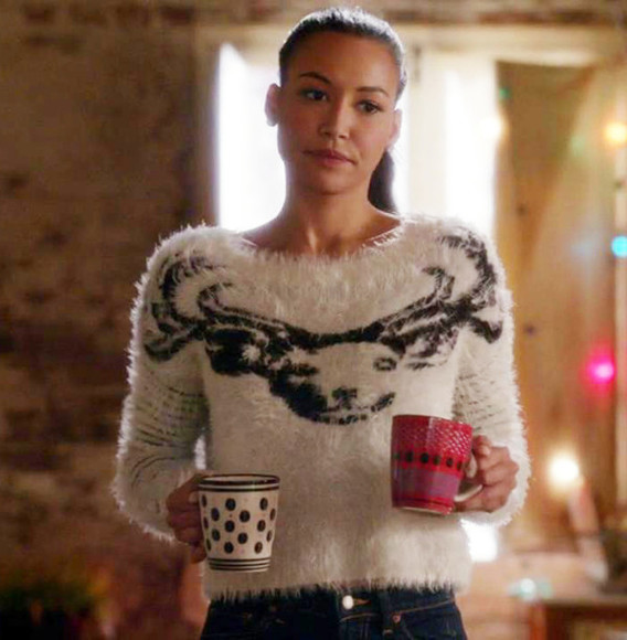 deer sweater naya rivera glee fluffy fuzzy sweater