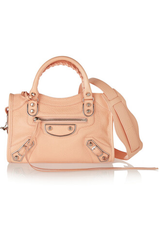 mini metallic classic bag shoulder bag leather peach