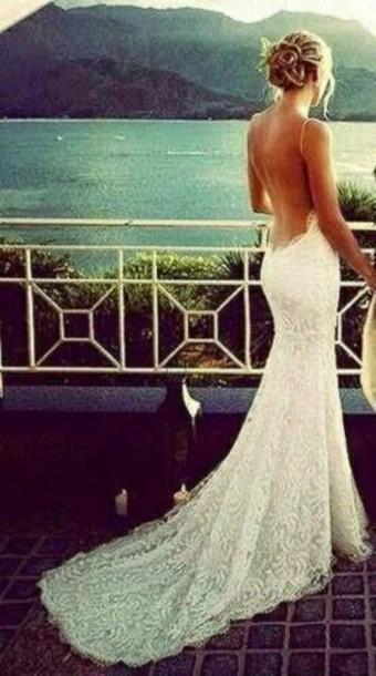dress white dress open back prom dress lace dress white lace dress lace prom dress