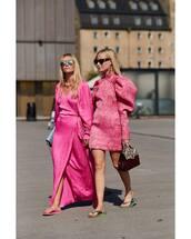 dress,silk,maxi dress,side split,mini dress,slide shoes,sunglasses,earrings,pink dress