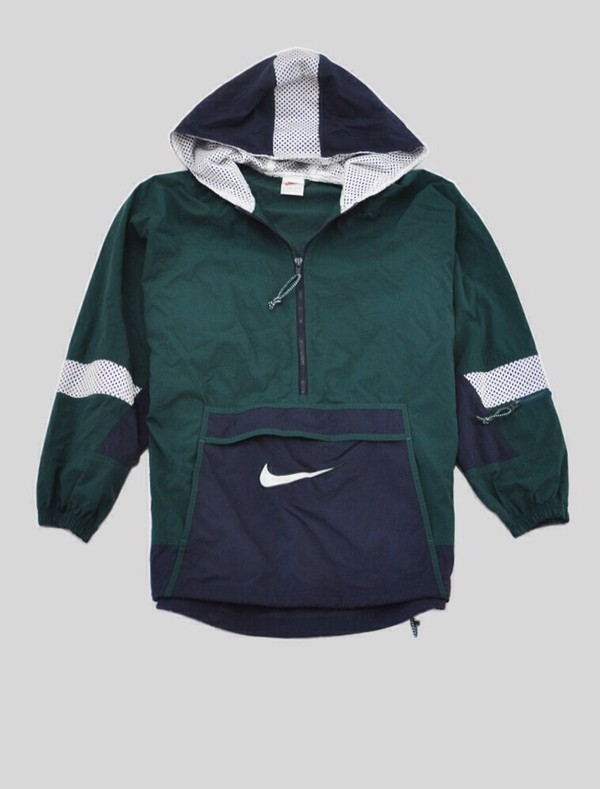 nike blue green lined hoodie windbreaker jacket women medium excellent ebay. Black Bedroom Furniture Sets. Home Design Ideas
