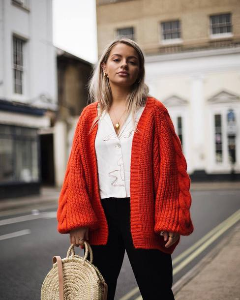 cardigan tumblr knit knitwear knitted cardigan orange shirt white shirt bag