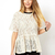 Beige Short Sleeve Hollow Pleated Lace Blouse - Sheinside.com