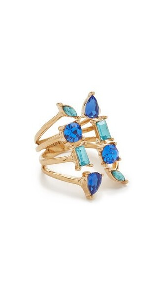 ring gold blue jewels