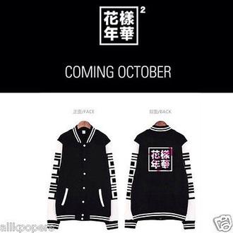 jacket kpop bts k-pop baseball jacket black and white